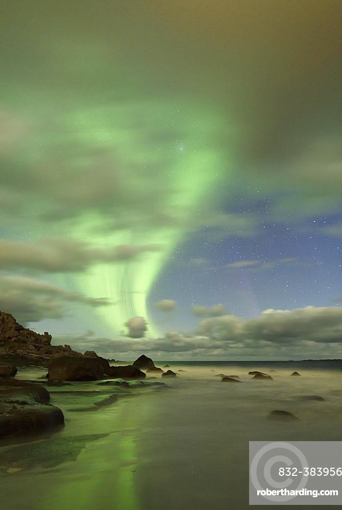 Northern Lights, Aurora Borealis above the beach of Utakleiv, Lofoten, Norway, Europe