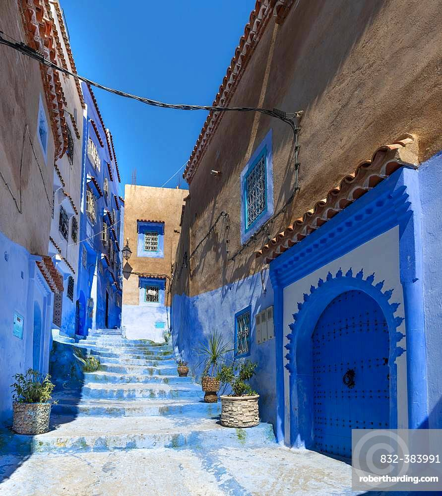 Stairs through narrow alley, blue houses, medina of Chefchaouen, Chaouen, Tanger-Tetouan, Morocco, Africa