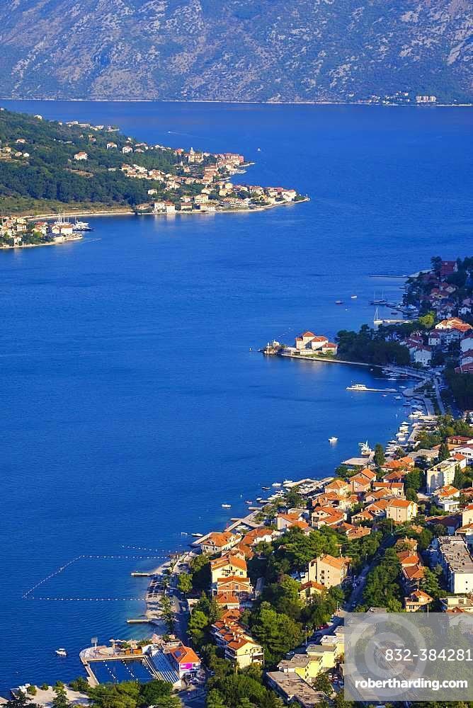Dobrota and Prcanj, view from fortress Sveti Ivan in Kotor, bay of Kotor, Montenegro, Europe