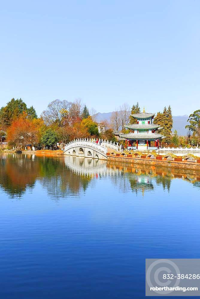 White Bridge and Chinese Pagoda, Deyue Pavilion, Black Dragon Lake, Black Dragon Pool, Unesco World Heritage Site, Lijiang, Yunnan Province, People's Republic of China