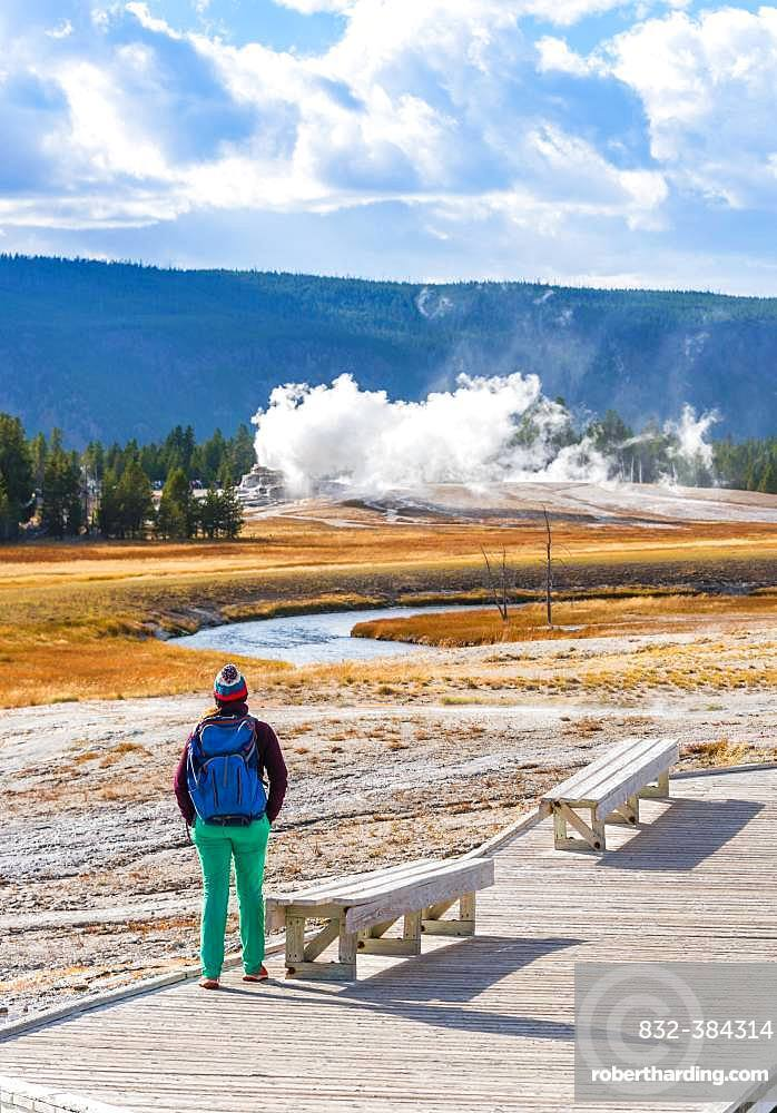 Tourist observes eruption of Castle Geysir, Yellowstone National Park, Wyoming, USA, North America