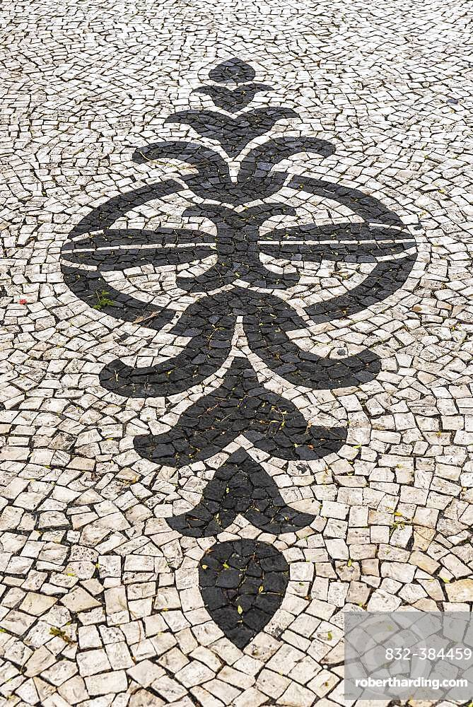 Black and white ornamental floor mosaic of paving stones, Funchal, Madeira, Portugal, Europe