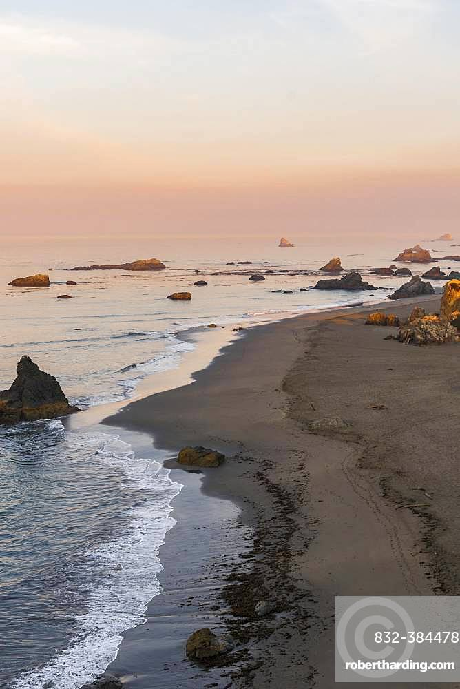 Sunrise, coastal landscape with many rocky islands, Harris Beach State Park, Oregon, USA, North America