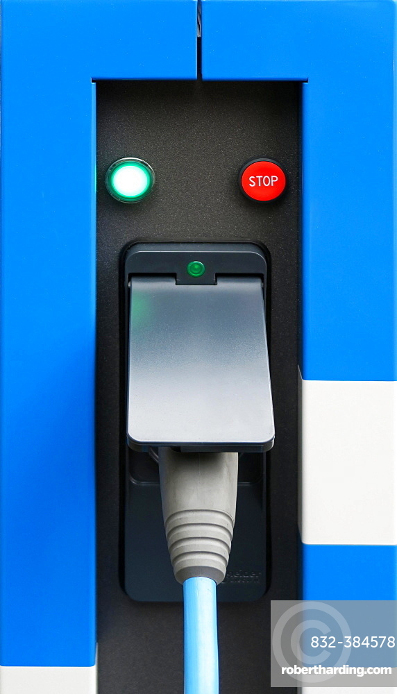 Charging station for electric cars with charging cable, Germany, Europe