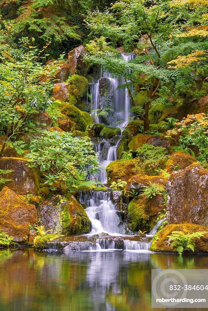 Pond with waterfall, Japanese garden, Portland, Oregon, USA, North America