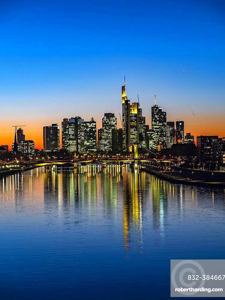 Deutschherrenbruecke with skyline at sunset, Frankfurt am Main, Hesse, Germany, Europe
