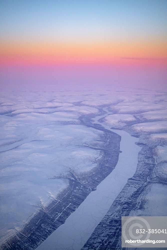 Aerial view, sunrise over the Central Siberian Highlands between Norilsk and Baykitskiy Rayon, Krasnoyarsk region, Russia, Europe
