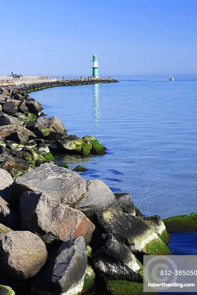 Mole, Lighthouse, Warnemuende, Mecklenburg-Western Pomerania, Germany, Europe