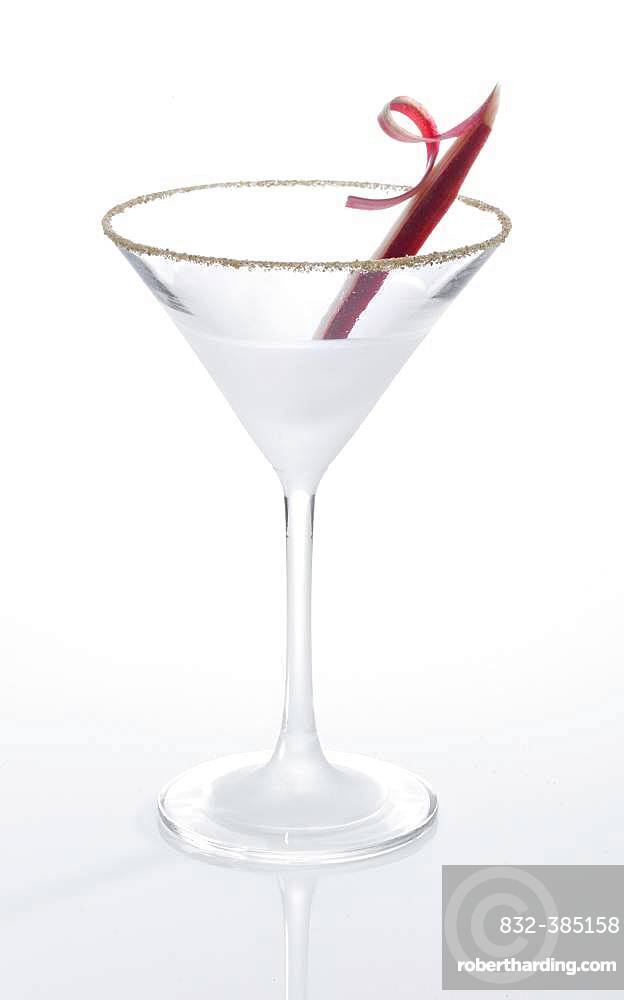 Cocktail glass, decorated with rhubarb, Germany, Europe