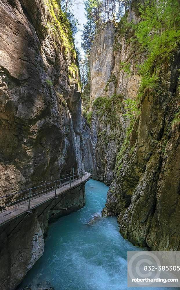 Wooden bridge through Leutasch gorge, near Mittenwald, Bavaria, Germany, Europe