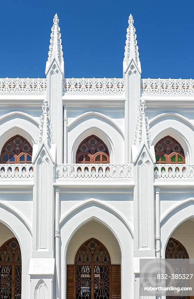 Architectural detail of St. Thomas Cathedral Basilica, San Thome Church, Chennai, India, Asia