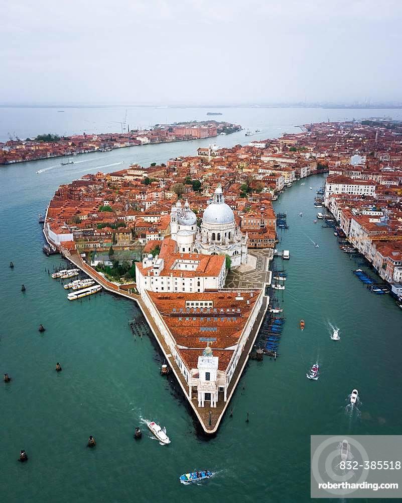 Santa Maria della Salute, aerial view, Venice, Italy, Europe