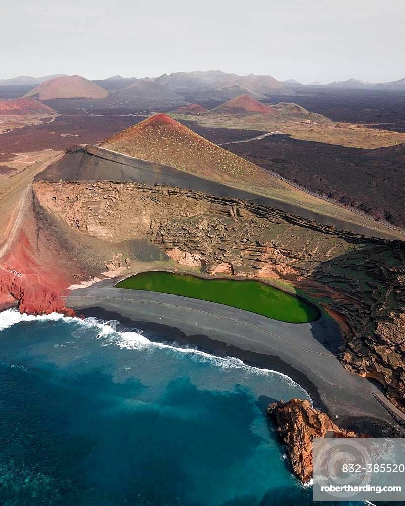 Charco de los Clicos, El Lago Verde, green lagoon, near El Golfo, drone shot, Lanzarote, Canary Islands, Spain, Europe