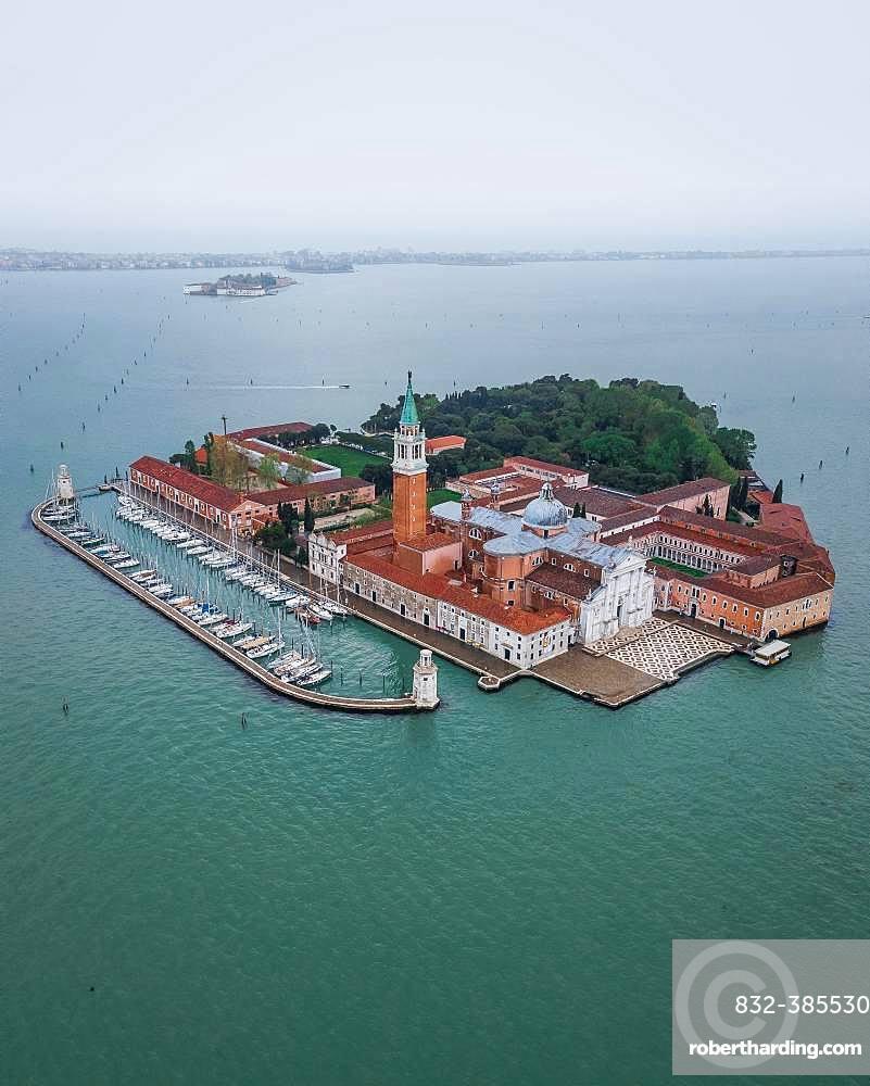 San Giorgio Maggiore, aerial view, Venice, Italy, Europe