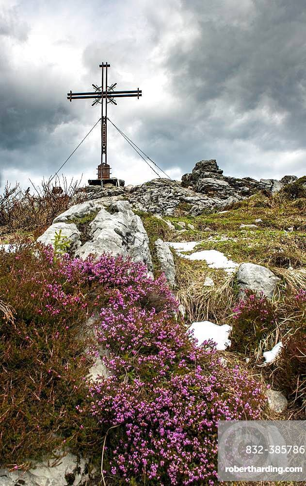 Summit cross at the summit of Spitzstein, Erl, Austria, Europe