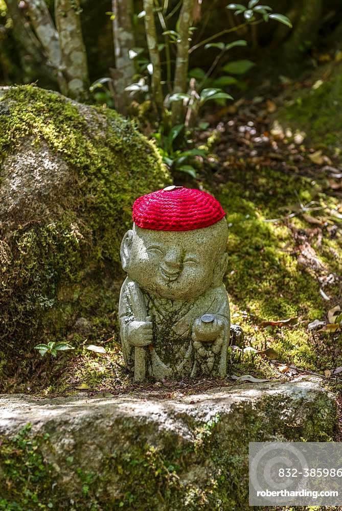 Buddha statue with colorful caps, Daisho-in temple complex, on Itsukushima Island, Miyajima, Hiroshima Bay, Japan, Asia