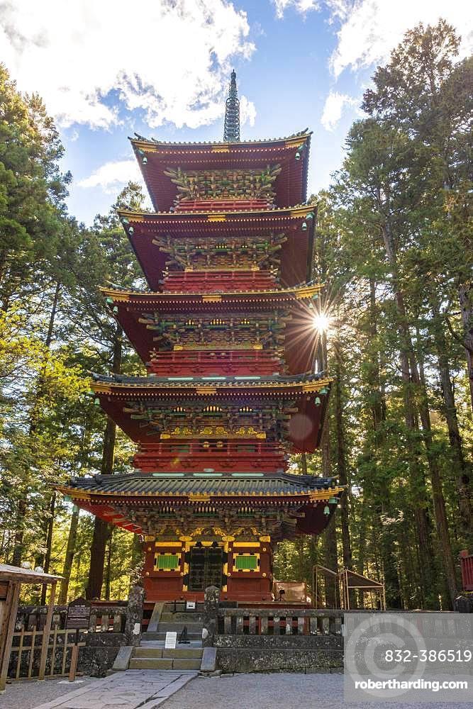 Decorated five-storey pagoda, Toshogu Gojunoto, Nikko, Japan, Asia