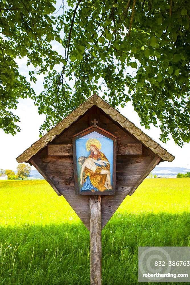 Wayside shrine, wayside shrine under a lime tree, Weissenkirchen in the Attergau, Hausruck Quarter, Upper Austria, Austria, Europe