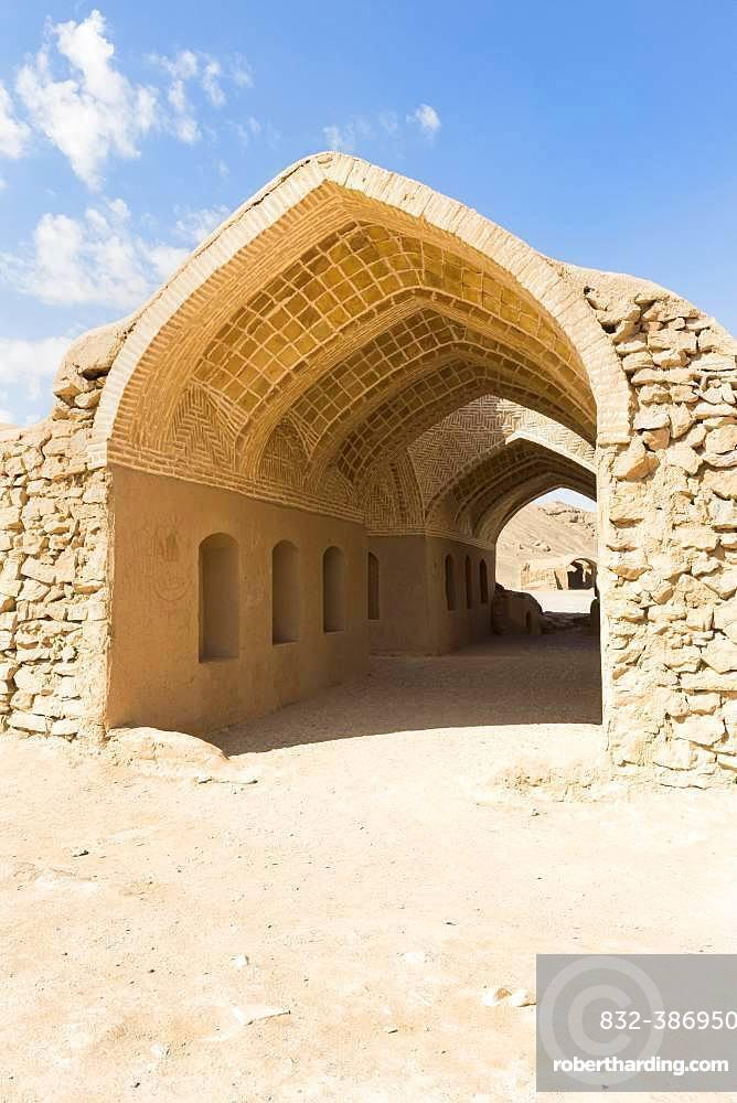 Ruins of ritual buildings near Dakhmeh Zoroastrian Tower of Silence, Yazd, Iran, Asia