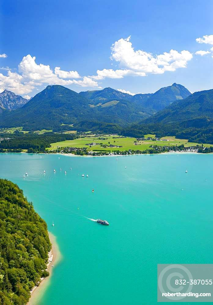 Wolfgangsee, panoramic view in direction of Abersee, Salzkammergut, Austria, Europe