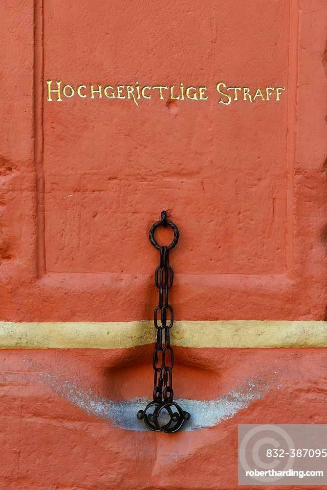 Pillory at the town hall of Bernkastel, Bernkastel-Kues, Rhineland-Palatinate, Germany, Europe