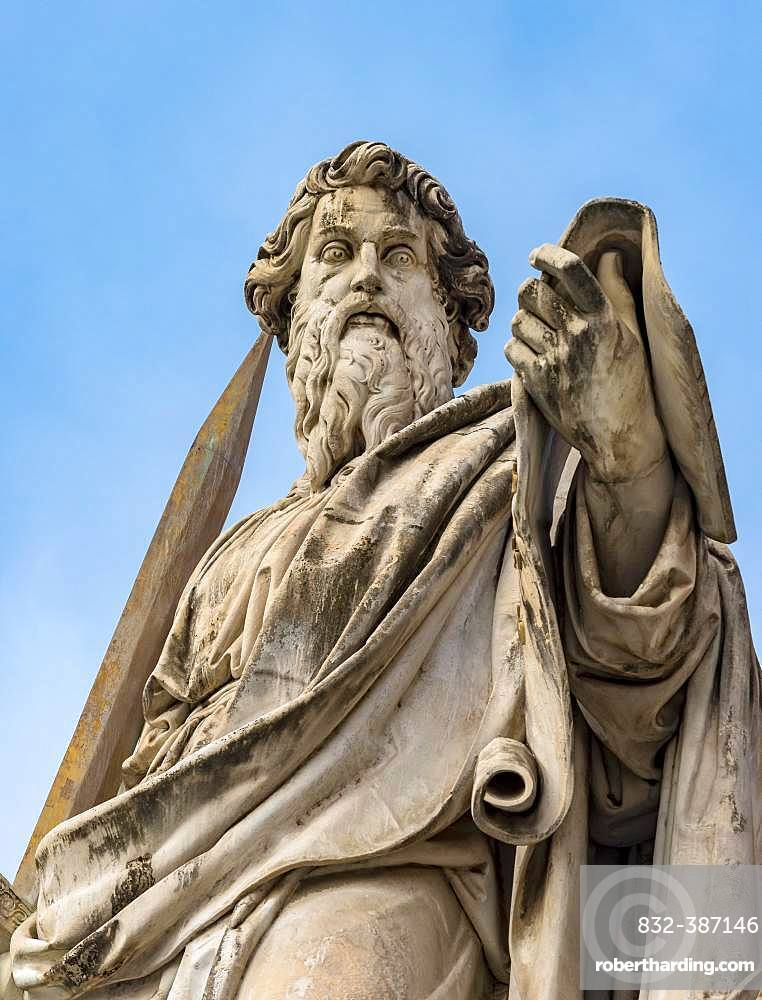 Statue of St. Paul with a sword at St. Peter's Square, Vatican, Rome, Italy, Europe
