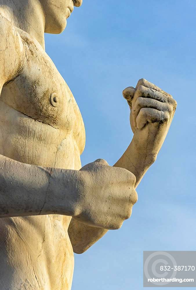 Close-up of fists of fighter statue at Stadio dei Marmi, Foro Italico, Rome, Italy, Europe
