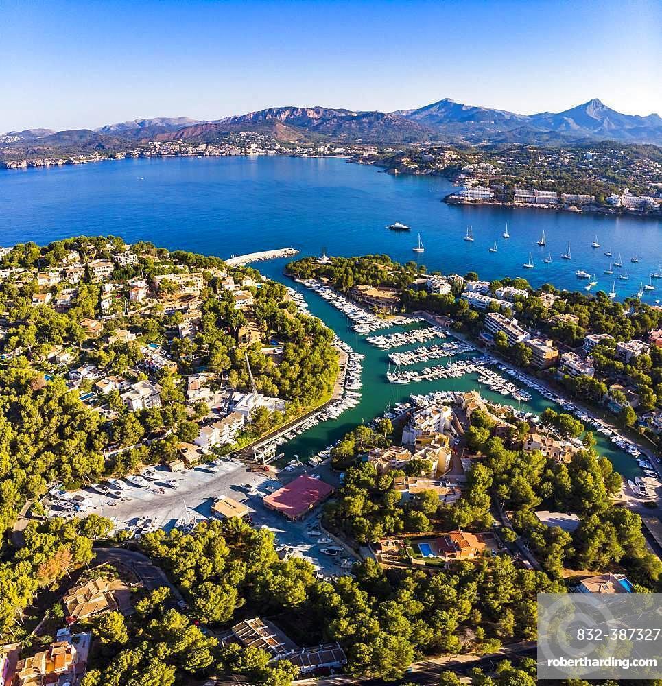 Aerial photo, view of Santa Ponca and the marina of Santa Ponca, behind the Serra de Tramuntana, Majorca, Balearic Islands, Spain, Europe