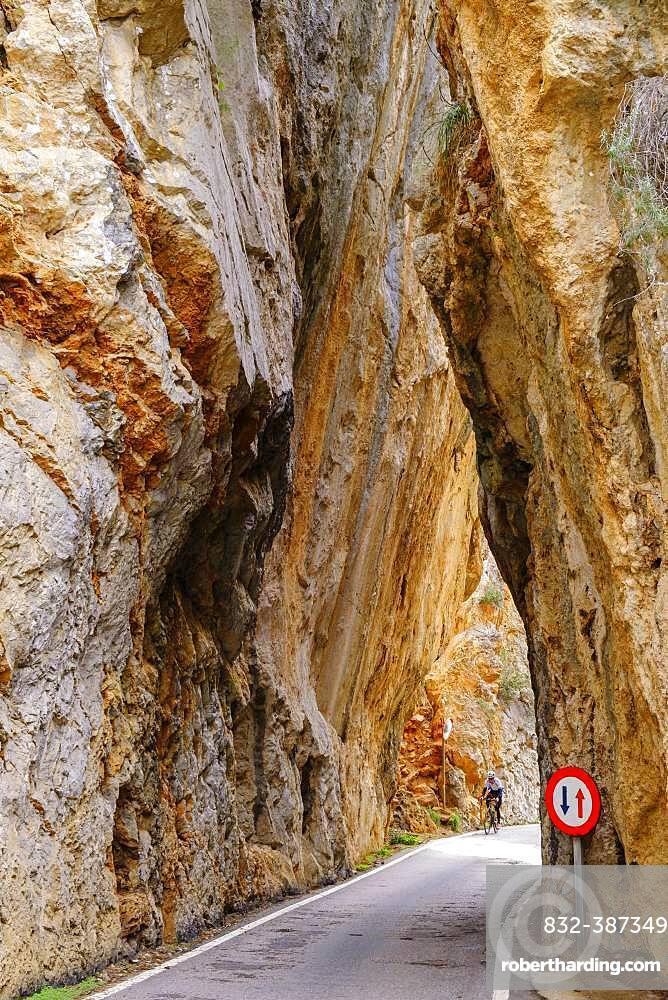 Rock gate sa Bretxa, mountain road MA-2141, Sa Calobra, Serra de Tramuntana, Majorca, Balearic Islands, Spain, Europe