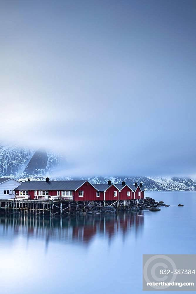 Rorbuer cabins from Hamnoy by the fjord, Hamnoy, Moskenesoya, Lofoten, Norway, Europe