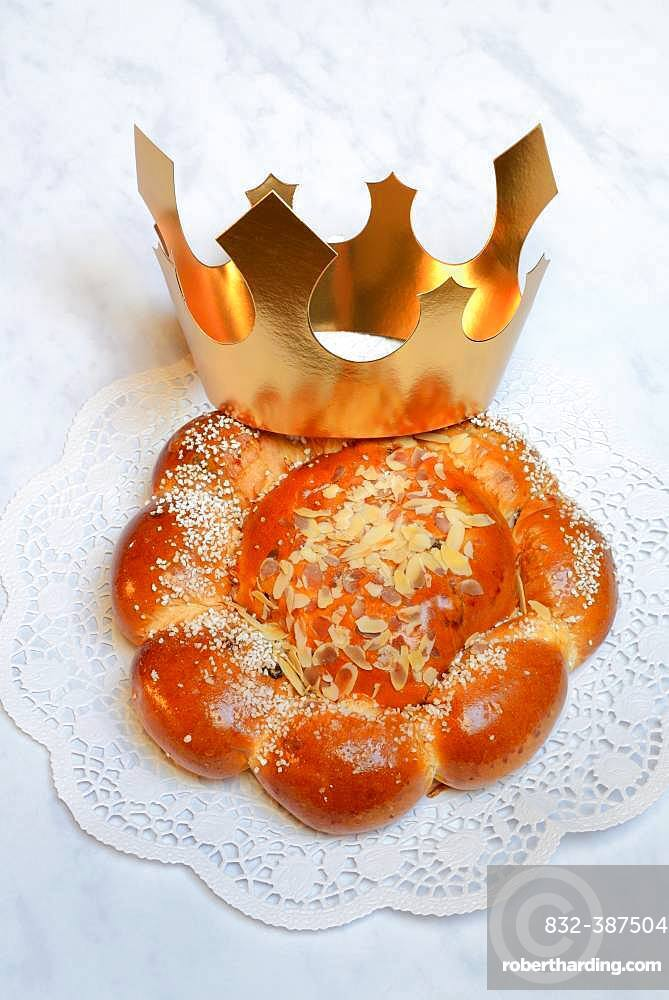Epiphany cake with crown, Switzerland, Europe