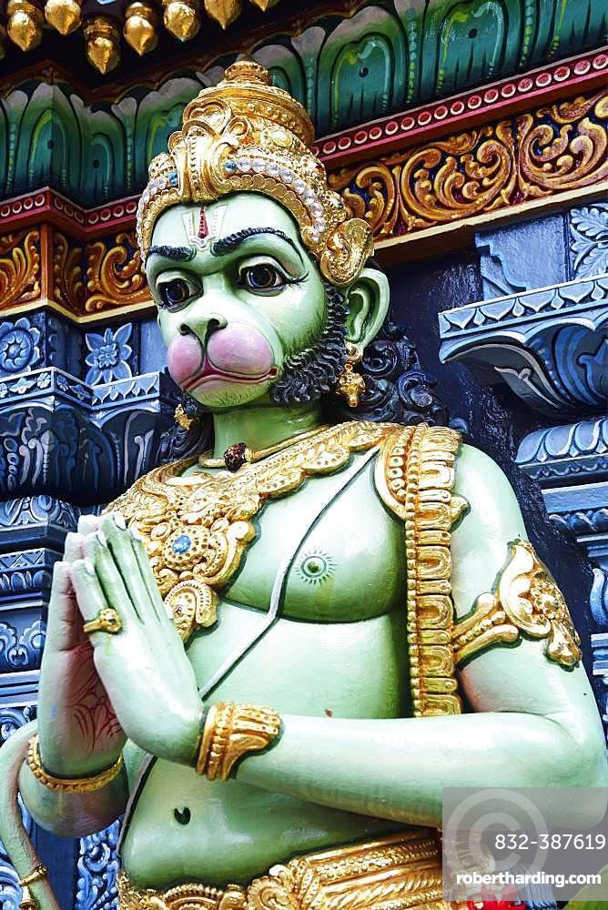 Monkey god Hanuman figure in front of the Shri Krishnan Hindu temple, Bugis, Singapore, Asia