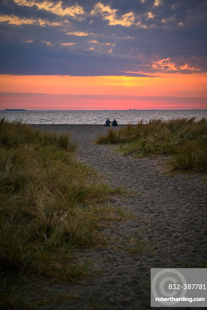 Couple sitting on the beach, Beach landscape with dune grass, Sunrise over the sea, Amager Strand, Copenhagen, Denmark, Europe