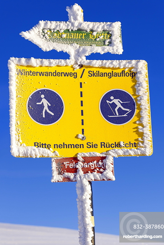 Information boards on the Feldberg, winter sports, Black Forest, Baden-Wuerttemberg, Germany, Europe