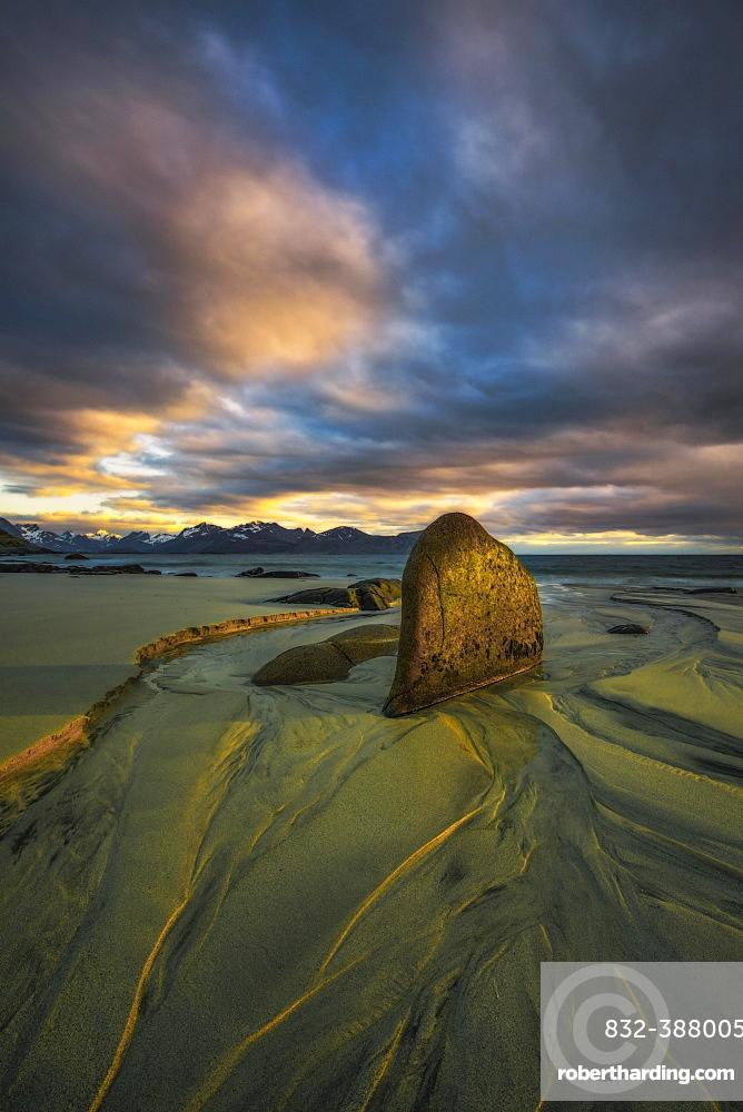 Midsummer Night, Vikten Beach, Lofoten, Norway, Europe