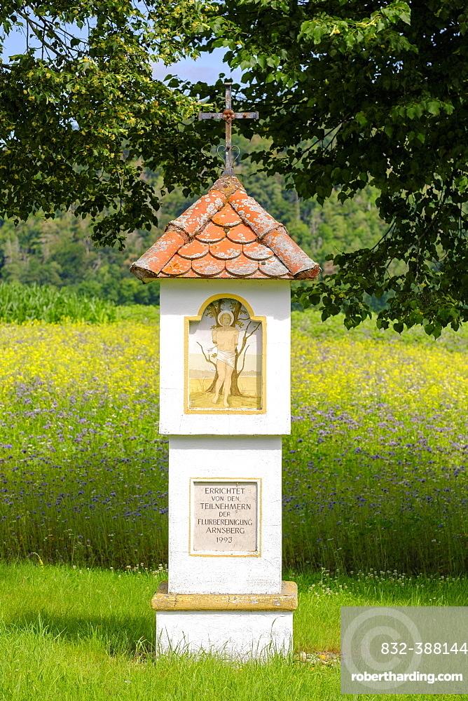 St. Sebastian, wayside shrine near Arnsberg, near Kipfenberg, Altmuehltal, Upper Bavaria, Bavaria, Germany, Europe