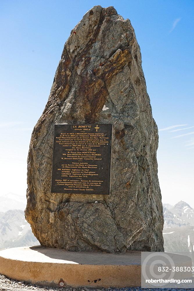 Commemorative plaque, Col de la Bonette, Cime de la Bonette, Jausiers, Department of Alpes-de-Haute-Provence, France, Europe
