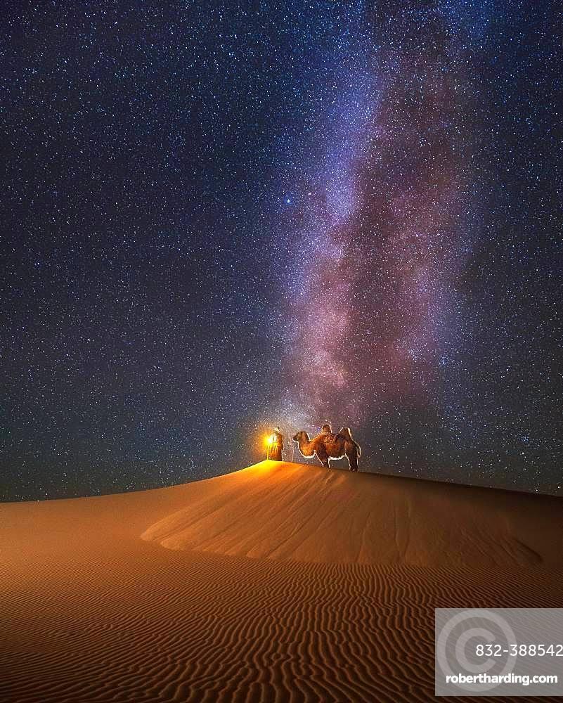 Camel herder under beautiful milky way in Mongolian gobi desert, Umnugobi province, Mongolia, Asia