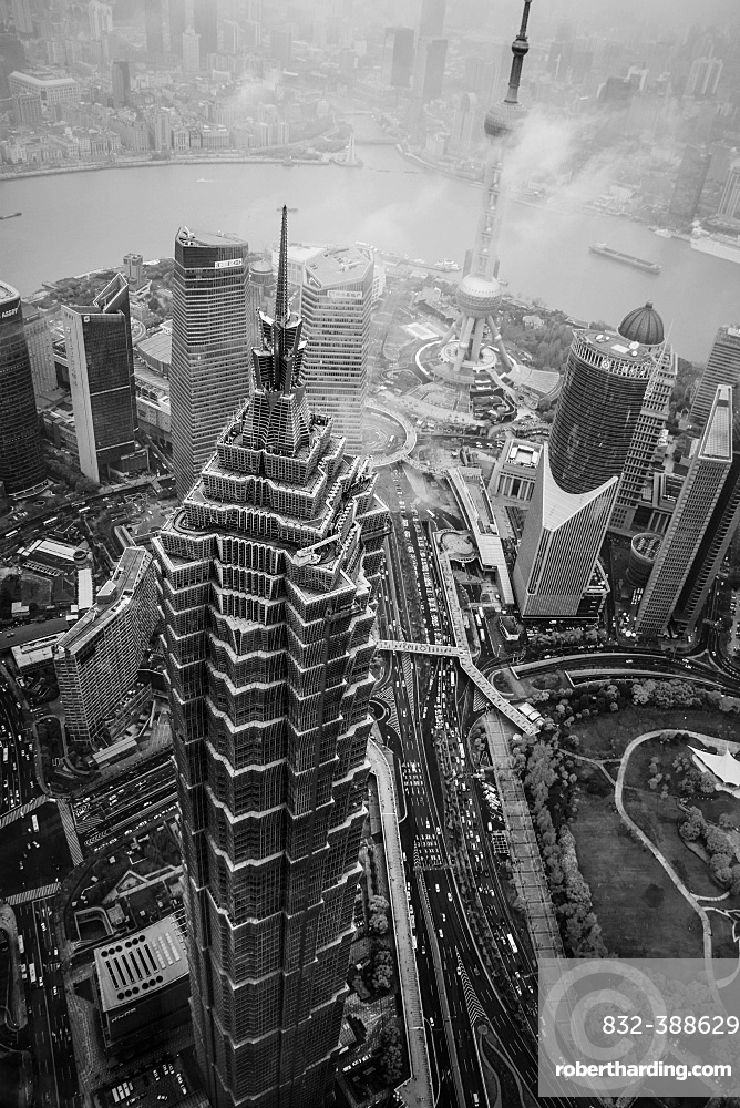 Drone shot, Jin Mao Tower in black and white, Shanghai, China, Asia