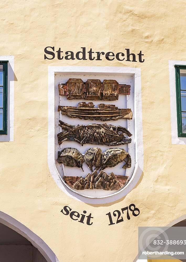 Coat of arms of the city of Trauntor, Gmunden, Lake Traun, Salzkammergut, Upper Austria, Austria, Europe