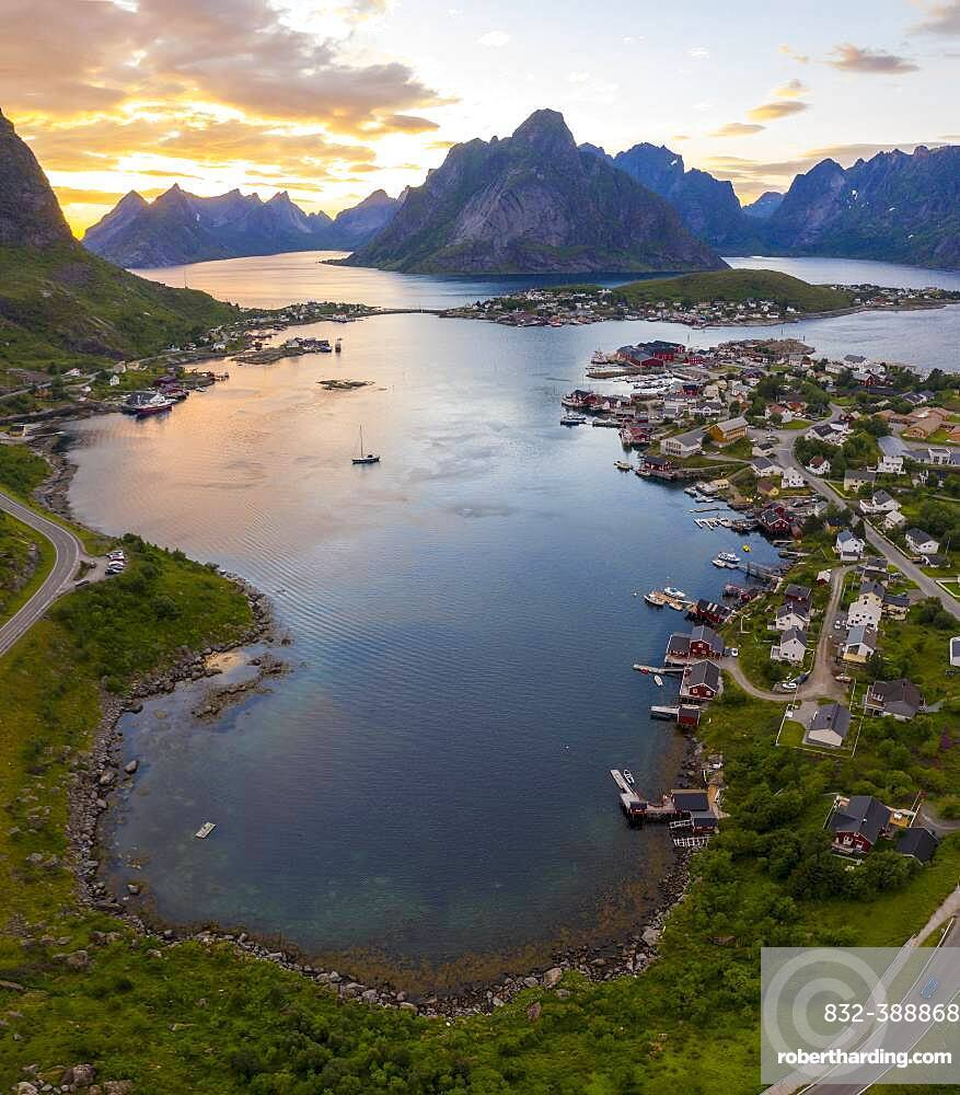 Aerial view, sunset at Reinefjord with mountains, view of Reine, Lofoten, Nordland, Norway, Europe