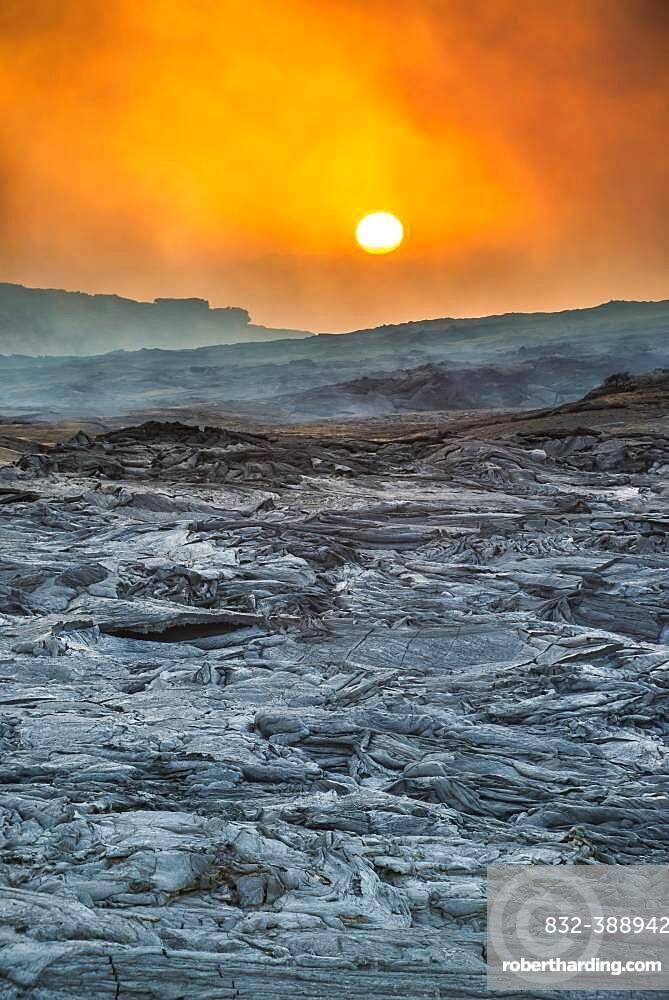 Sunrise over the lava field, shield volcano Erta Ale, Danakil depression, Afar region, Ethiopia, Africa