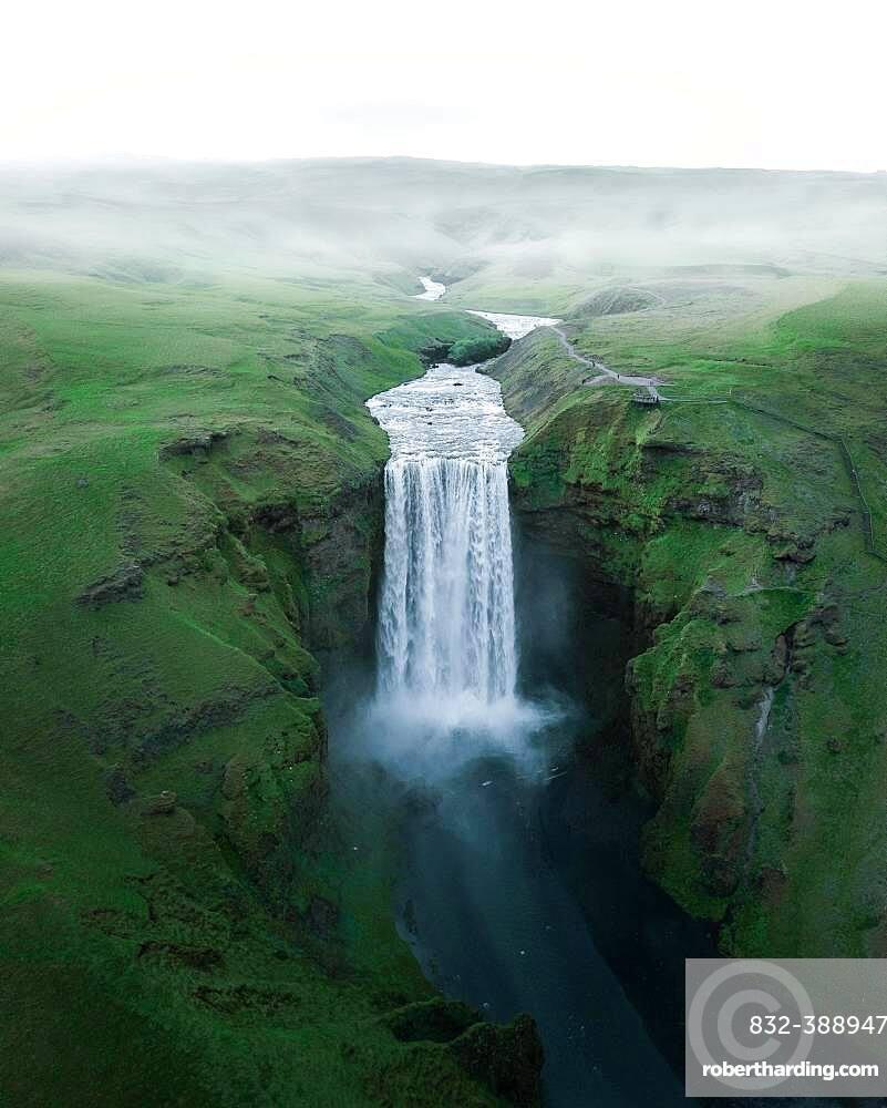 Aerial view, Skogafoss waterfall, Skogar, Sudurland, Southern Iceland, Iceland, Europe