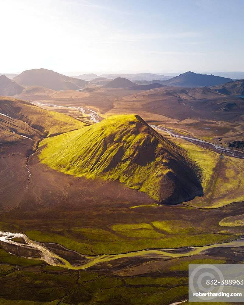 Aerial view, volcanic mountains, Fjallabak Nature Reserve, Southern Iceland, Iceland, Europe