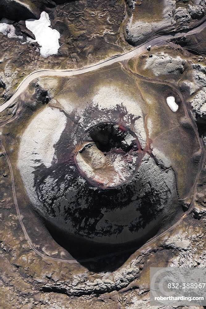 Aerial view, volcanic crater from above, near Frioland ao Fjallabaki, Iceland, Europe
