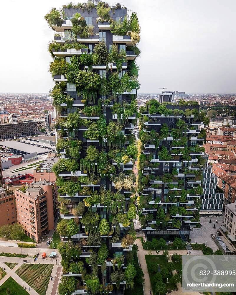 Aerial view of the Bosco Vertical, Milan