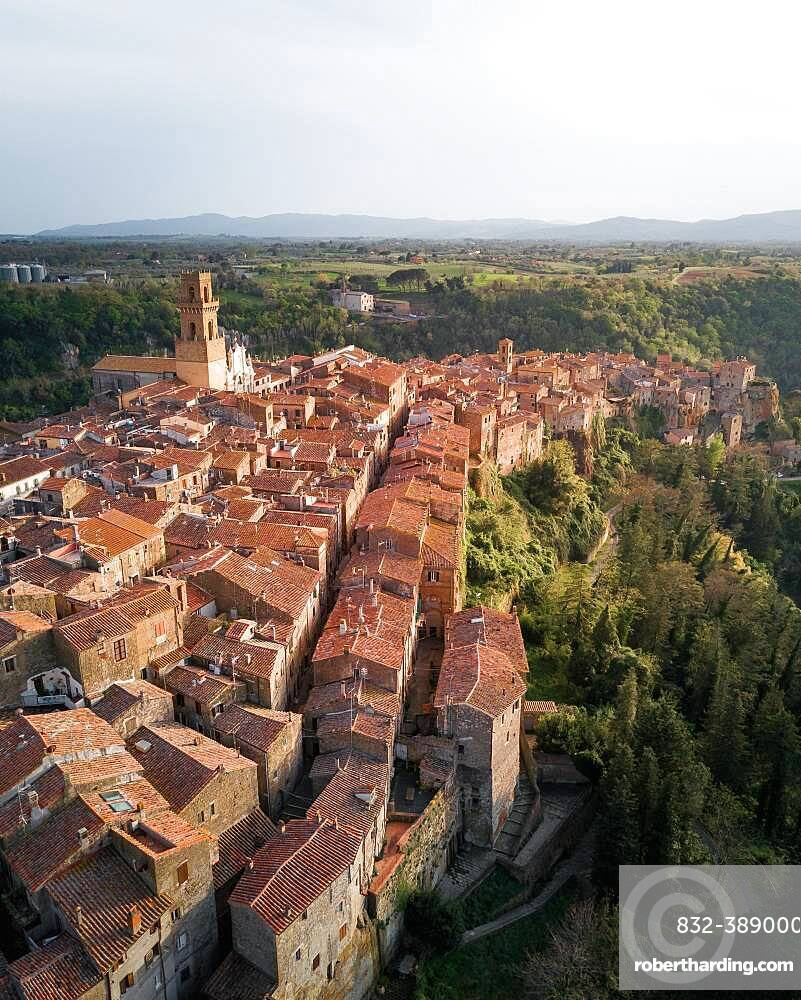 Aerial view, city of Pitigliano, Italy, Europe