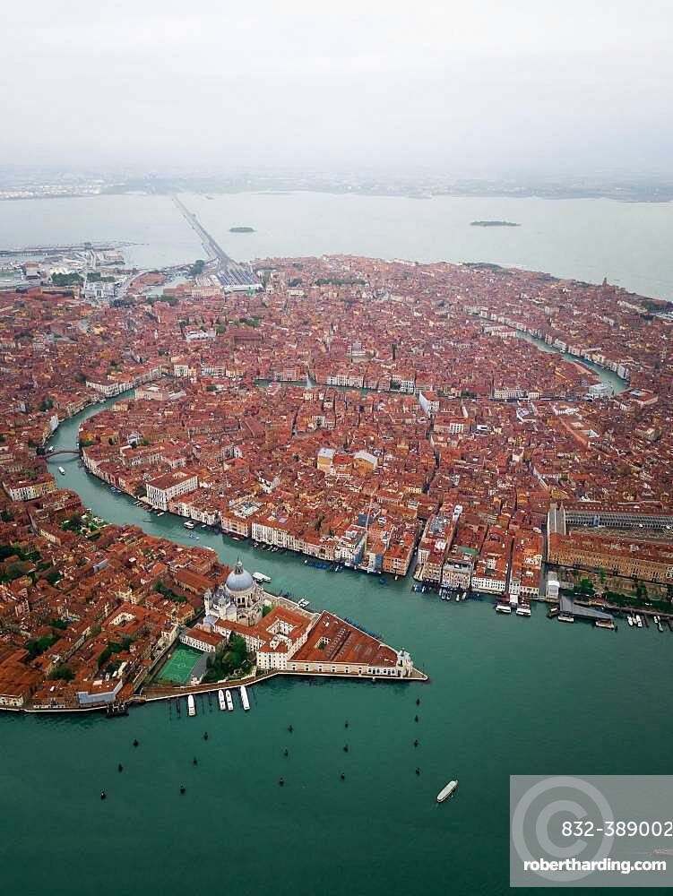 Aerial view, city view with Canal Grande, Venice, Veneto, Italy, Europe