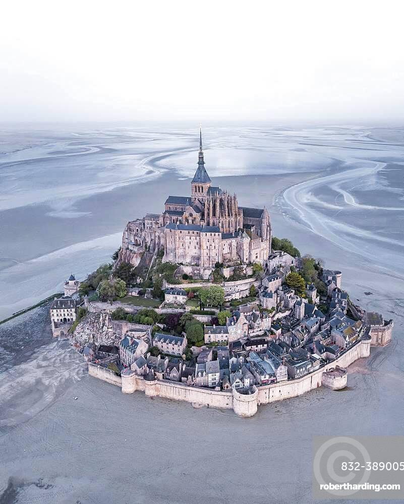 Aerial view, Le Mont-Saint-Michel at low tide, Manche Department, Normandy, France, Europe