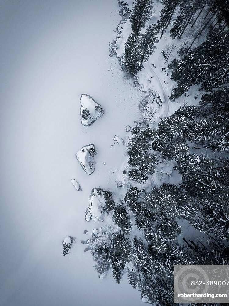 Aerial view, frozen snow-covered Hintersee, Ramsau, Berchtesgadener Land, Berchtesgaden National Park, Upper Bavaria, Germany,, Europe